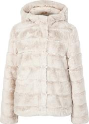 Saba Stone Quilted Faux Fur Coat