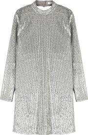 Theta Silver Sequinned Dress