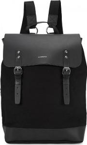 Black Leather And Canvas Backpack