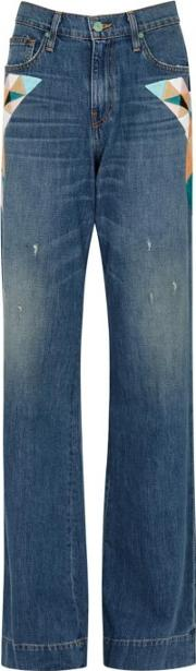 Blue Embroidered Flared Jeans Size W28