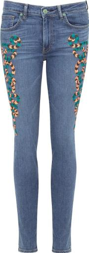 Blue Embroidered Skinny Jeans Size W27