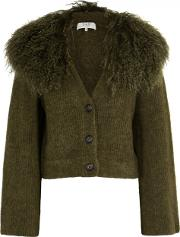 Army Green Shearling Trimmed Cardigan
