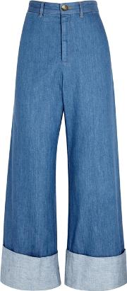 Blue Cropped Chambray Trousers
