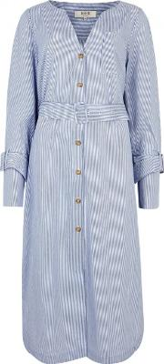 Blue Pinstriped Poplin Dress Size 8