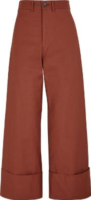 Chestnut Cropped Wide Leg Trousers