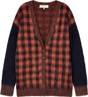 Ethno Checked Knitted Cardigan