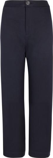 Navy Cropped Twill Trousers