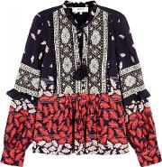 Navy Printed Silk Blouse Size 8