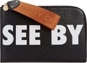 See By Chloe Black Logo Leather Pouch