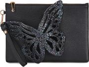 Flossy Black Glittered Leather Pouch