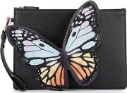 Flossy Butterfly Appliqued Leather Pouch