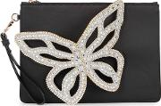 Flossy Butterfly Appliqued Satin Pouch