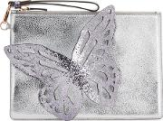 Flossy Silver Leather Pouch
