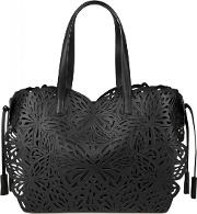 Liara Black Butterfly Leather Tote