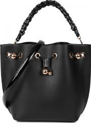 Romy Black Leather Bucket Bag