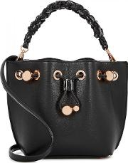 Romy Mini Black Leather Bucket Bag