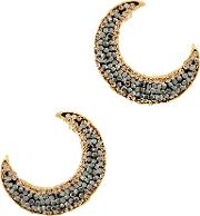 Notte Grey Crystal 18ct Gold Plated Moon Earrings