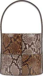 Bissett Snake Print Leather Bucket Bag