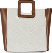 Shirley Leather And Canvas Top Handle Bag