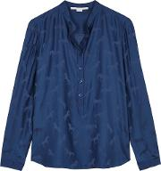 Blue Horse Jacquard Satin Shirt