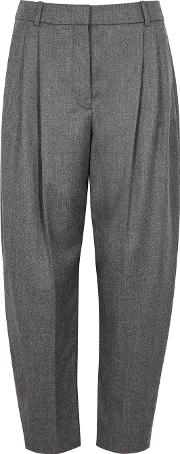 Grey Tapered Wool Trousers