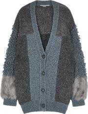 Panelled Faux Fur And Wool Blend Cardigan