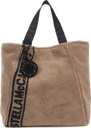 Taupe Logo Faux Shearling Tote