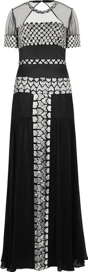 Black Sequin Embellished Chiffon Gown