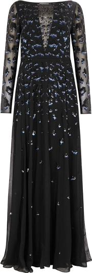 Celestial Sequinned Chiffon Gown