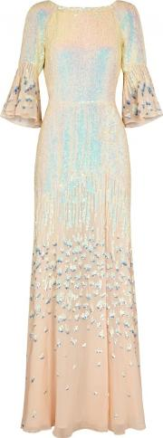 Celestial Sequinned Chiffon Gown Size 10