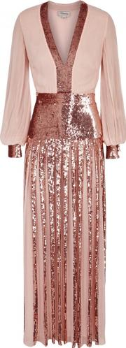 Filigree Sequinned Chiffon Gown Size 14