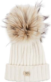 Off White Fur Pompom Cable Knit Beanie