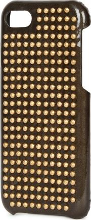 Gunmetal Studded Glossed Leather Iphone 7 Case