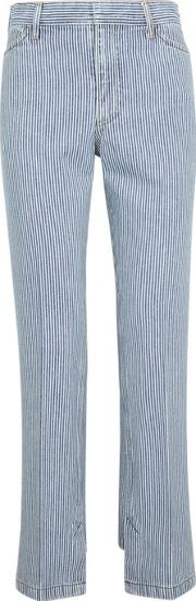 Pinstriped Straight Leg Jeans Size 8