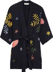 Navy Embroidered Wool Blend Cardigan
