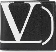 Black Logo Print Leather Wallet