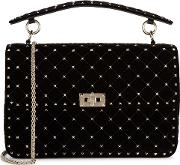 Rockstud Spike Large Velvet Shoulder Bag