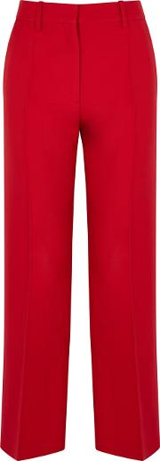 Red Straight Leg Wool Blend Trousers