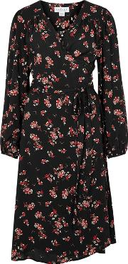 Black Floral Print Crepe Wrap Dress