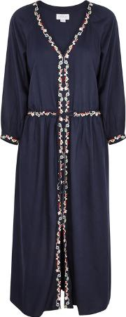 Lydia Navy Embroidered Voile Midi Dress
