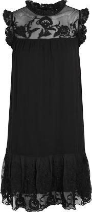 Marsh Black Embroidered Dress