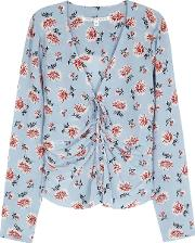 Maisle Blue Ruched Silk Blouse