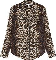 Roswell Leopard Print Stretch Silk Blouse