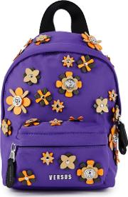 Floral Lion Purple Nylon Backpack