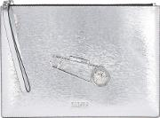 Safety Pin Silver Leather Pouch