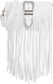 White Fringed Leather Shoulder Bag