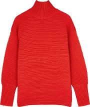 Red Ribbed Wool Jumper