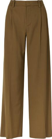 Brown Wide Leg Twill Trousers