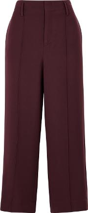 Plum Wide Leg Cropped Trousers