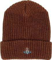 Brown Chunky Knit Wool Beanie